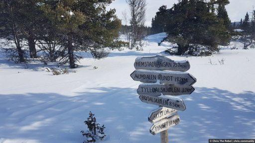 дорожный указатель на лыжне на просторах Норвегии